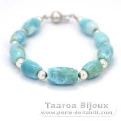 Bracelet of 9 Larimar Beads - 18.5 cm - 13.4 gr