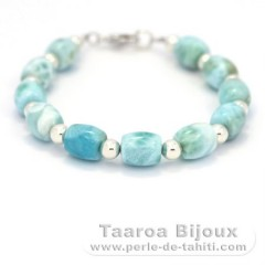 Bracelet of 11 Larimar Beads - 18 cm - 11.6 gr