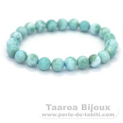 Bracelet of 23 Larimar Beads - 15 cm - 15 gr
