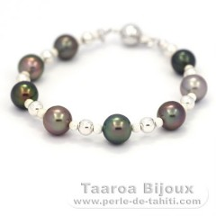Rhodiated Sterling Silver Bracelet and 8 Tahitian Pearls Semi-Round C 8.7 to 9 mm