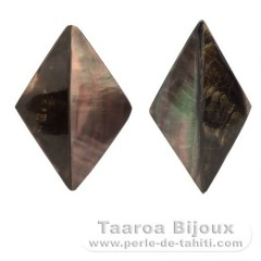 2 Tahitian mother-of-pearl shapes - 60 x 35 mm