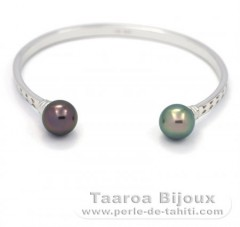 Rhodiated Sterling Silver Bracelet and 2 Tahitian Pearls Round C 10 mm
