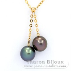 18K solid Gold Chain and 2 Tahitian Pearls Near-Round 1 A, 1 B, 9.5 & 9.6 mm