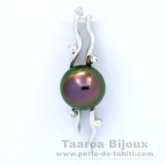 Rhodiated Sterling Silver Pendant and 1 Tahitian Pearl Near-Round C 8.9 mm