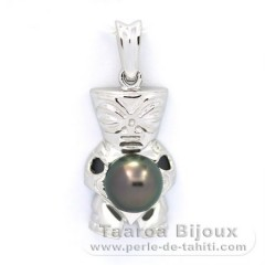 Rhodiated Sterling Silver Pendant and 1 Tahitian Pearl Round C 8 mm