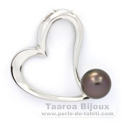 Rhodiated Sterling Silver Pendant and 1 Tahitian Pearl Near-Round C 8.7 mm