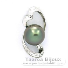 Rhodiated Sterling Silver Pendant and 1 Tahitian Pearl Semi-Baroque B 8.4 mm