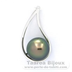 Rhodiated Sterling Silver Pendant and 1 Tahitian Pearl Round C 10.4 mm