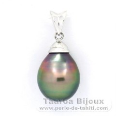 Rhodiated Sterling Silver Pendant and 1 Tahitian Pearl Ringed B 10.3 mm