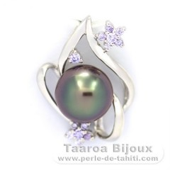 Rhodiated Sterling Silver Pendant and 1 Tahitian Pearl Near-Round C 9.6 mm