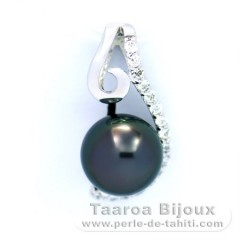 Rhodiated Sterling Silver Pendant and 1 Tahitian Pearl Round C 8.5 mm