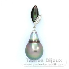 Rhodiated Sterling Silver Pendant and 1 Tahitian Pearl Semi-Baroque B 11.2 mm
