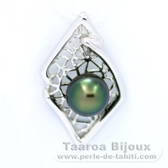 Rhodiated Sterling Silver Pendant and 1 Tahitian Pearl Near-Round C 9.8 mm