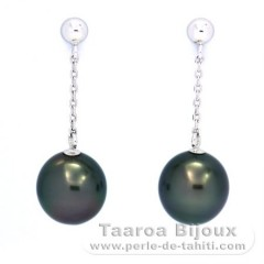 14K White Gold Earrings and 2 Tahitian Pearls Semi-Baroque A & B 8.2 mm
