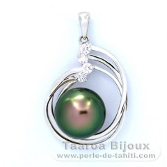 Rhodiated Sterling Silver Pendant and 1 Tahitian Pearl Semi-Baroque BC 12 mm