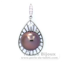 Rhodiated Sterling Silver Pendant and 1 Tahitian Pearl Near-Round C 12 mm