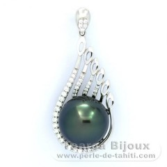 Rhodiated Sterling Silver Pendant and 1 Tahitian Pearl Near-Round C 12.7 mm