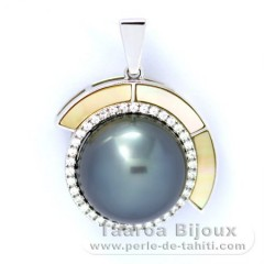 Rhodiated Sterling Silver Pendant and 1 Tahitian Pearl Round C 12.6 mm