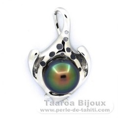 Rhodiated Sterling Silver Pendant and 1 Tahitian Pearl Semi-Baroque C 13.7 mm