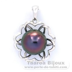 Rhodiated Sterling Silver Pendant and 1 Tahitian Pearl Semi-Baroque B 10.5 mm