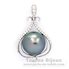 Rhodiated Sterling Silver Pendant and 1 Tahitian Pearl Round BC 11 mm