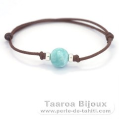 Cotton Bracelet, Silver and 1 Larimar - 11.3 mm - 2.5 gr