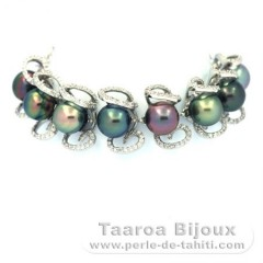 Rhodiated Sterling Silver Bracelet and 8 Tahitian Pearls Semi-Baroque B+ 9.1 to 9.4 mm