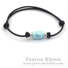 Leather Bracelet and 1 Larimar - 12 x 8.7 mm - 1.7 gr