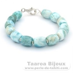 Bracelet of 13 Larimar Beads - 17.5 cm - 20.1 gr