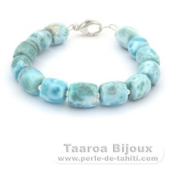 Bracelet of 13 Larimar Beads - 17.5 cm - 20.3 gr