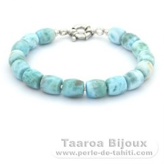 Bracelet of 16 Larimar Beads - 20 cm - 23 gr