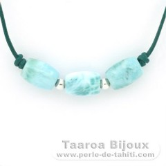 Leather Necklace and 3 Larimar - 12 x 8.6 mm - 4.3 gr