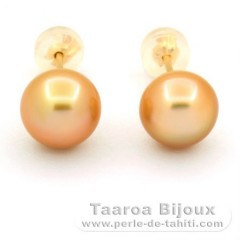 18K solid Gold Earrings and 2 Australian Pearls Semi-Baroque B 8.5 mm