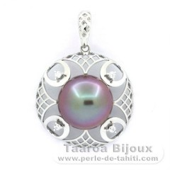 Rhodiated Sterling Silver Pendant and 1 Tahitian Pearl Round C+ 11.9 mm