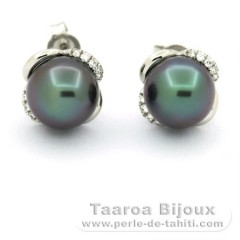 Rhodiated Sterling Silver Earrings and 2 Tahitian Pearls Round C 8.7 mm