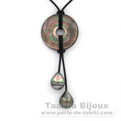 Leather Necklace and 2 Tahitian Pearls Ringed C 11.7 mm