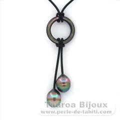 Leather Necklace and 2 Tahitian Pearls Ringed C+ 10.3 mm