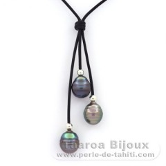 Leather Necklace and 3 Tahitian Pearls Ringed C 10.7 to 10.8 mm