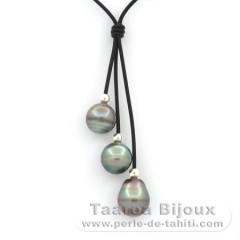 Leather Necklace and 3 Tahitian Pearls Ringed BC 12 to 11.5 mm