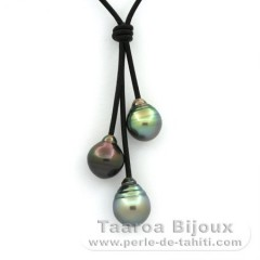 Leather Necklace and 3 Tahitian Pearls Ringed B 10.1 to 10.7 mm
