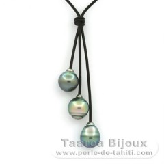 Leather Necklace and 3 Tahitian Pearls Ringed BC 11.3 to 11.8 mm
