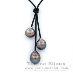 Leather Necklace and 3 Tahitian Pearls Ringed BC 11 to 11.4 mm