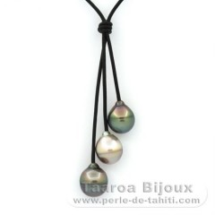 Leather Necklace and 3 Tahitian Pearls Ringed C 11.5 to 11.9 mm