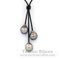 Leather Necklace and 3 Tahitian Pearls Ringed B 10.2 to 10.6 mm