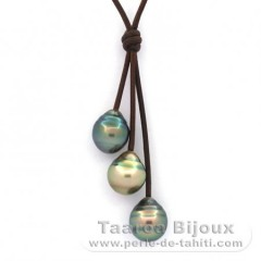 Leather Necklace and 3 Tahitian Pearls Ringed C 11 to 11.6 mm
