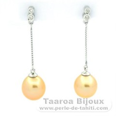 Rhodiated Sterling Silver Earrings and 2 Australian Pearls Semi-Baroque C 9.4 mm