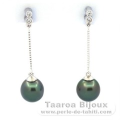 Rhodiated Sterling Silver Earrings and 2 Tahitian Pearls Semi-Baroque AB 8.5 mm