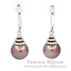 Rhodiated Sterling Silver Earrings and 2 Tahitian Pearls Round B/C 9.8 mm