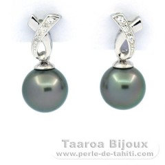 Rhodiated Sterling Silver Earrings and 2 Tahitian Pearls Near-Round B 8.2 mm