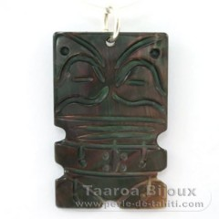 Mother-of-Pearl Tiki Pendant (Pinctada Margaritifera)